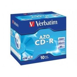 VERBATIM CD-R  AZO Crystal pack caja 10 ud 52x 700MB 80min 43327