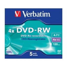 VERBATIM DVD-RW Advanced SERL pack caja 5 ud 4x 4,7GB 120 min 43285