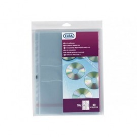 ELBA Bolsa de 10 fundas para CD/DVD 3 CD por funda con perforación multitaladro A4 100206995
