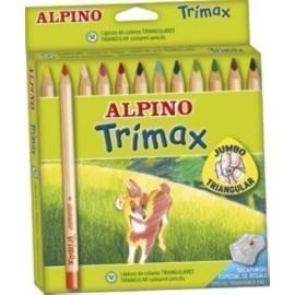 LAPICES de COLORES ALPINO TRIMAX estuche de 12 con AFILA
