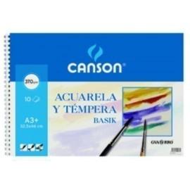 BLOCK DE DIBUJO GUARRO CANSON ACUARELA y TEMPERA BASIK espiral 370g A3 10h