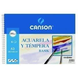 LAMINA GUARRO CANSON ACUARELA y TEMPERA BASIK 370g MINI PACK de 6 A3
