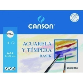 LAMINA GUARRO CANSON ACUARELA y TEMPERA BASIK 370g MINI PACK de 6 A4