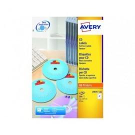 AVERY Etiquetas Multimedia para CD/DVD Caja 100 hojas 117 mm Laser Blanco L7676-100