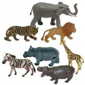 BOTE CON ASA 7 FIGURAS ANIMALES DE LA SELVA