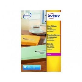 AVERY Etiquetas laser Quickpeel Caja 25 hojas 350 ud 99,1x38,1  Transparentes L7563-25