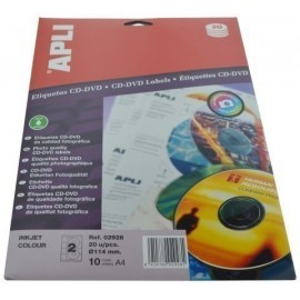 ETIQUETAS ADH IMPR APLI A4 MULTIMED CD DVD CLASICA BLISTER 10h INKJET BRILLO Ø ext 114 e int 41 mm 20 uds 02928
