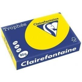 PAPEL de COLOR A4 CLAIREFONTAINE TROPHEE 80g 500h FLUO AMARILLO