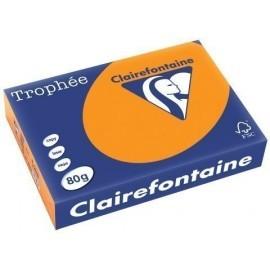 PAPEL de COLOR A4 CLAIREFONTAINE TROPHEE 80g 500h FLUO NARANJA