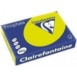 PAPEL de COLOR A4 CLAIREFONTAINE TROPHEE 80g 500h FLUO VERDE