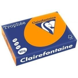 PAPEL de COLOR A4 CLAIREFONTAINE TROPHEE 80g 500h VIVO NARANJA