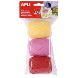 RAFIA APLI NATURAL 30 m COLORES CANDY BOLSA de 3