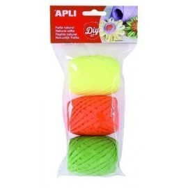 RAFIA APLI NATURAL 30 m COLORES FLUOR BOLSA de 3