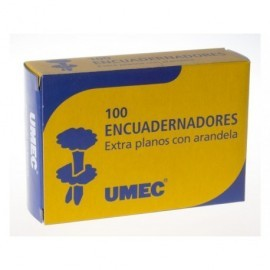 UMEC Encuadernadores con Arandela Caja 100 Ud 21mm Extraplanos y latonados U301001