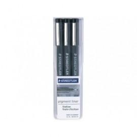 STAEDTLER Estuche rotuladores Pigment Liner 3 ud Negro 308 WP3 SP