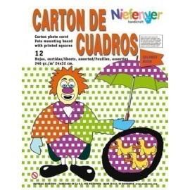 SCRAPBOOKING CARTULINA NIEFENVER IMPRESA 24x32cm 300gr CUADRO NEON 6 colores PACK de 12