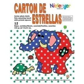 SCRAPBOOKING CARTULINA NIEFENVER IMPRESA 24x32cm 300gr ESTRELLA 6colores PACK 12