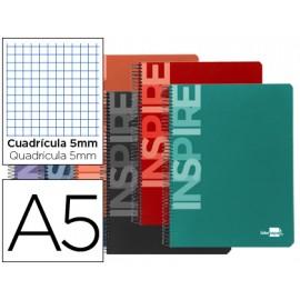 Cuaderno espiral a5 micro inspire tapa dura 160h 60 gr cuadro 5mm 5 bandas 6 taladros colores surtidos.
