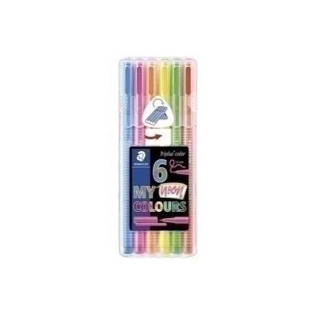 Rotulador Fibra Staedtler 323 Triplus Color Neon Estuche De 6 (Amarillo, Rojo, Rosa, Azul, Naranja Y Verde)