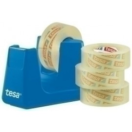Portarrollos Tesa 33 M Easy Cut Smart Azul + Tesafilm Transparente 4 Rollos