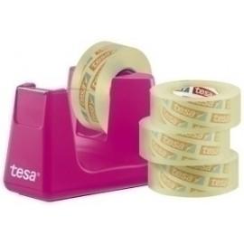 Portarrollos Tesa 33 M Easy Cut Smart Rosa + Tesafilm Transparente 4 Rollos