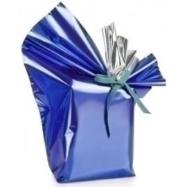 Papel De Regalo Bobina Colibri 60 Cm X 15 M Doble Azul Metalizado
