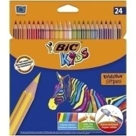 Lapices De Colores Bic Evolution Stripes Estuche De 24