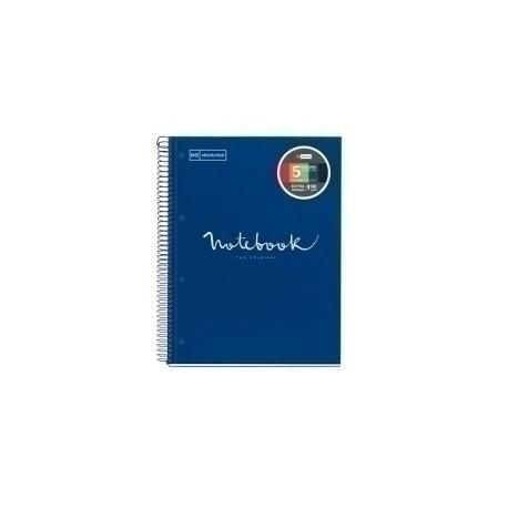 Bloc Miquelrius Emotions Notebook 5 Micro.Tapa Dura A4 120h 90g Cuadric.5x5 Marino