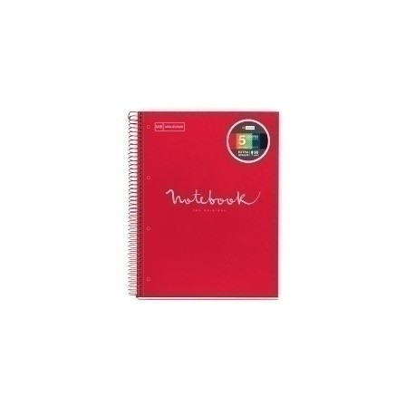 Bloc Miquelrius Emotions Notebook 5 Micro.Tapa Dura A4 120h 90g Cuadric.5x5 Rojo