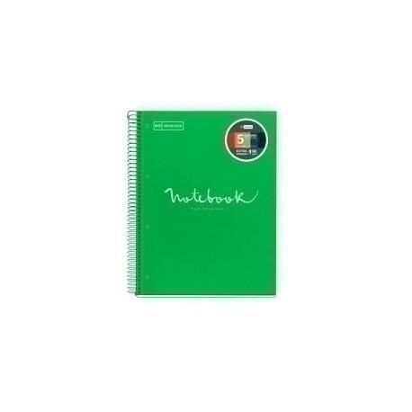 Bloc Miquelrius Emotions Notebook 5 Micro.Tapa Dura A4 120h 90g Cuadric.5x5 Verde