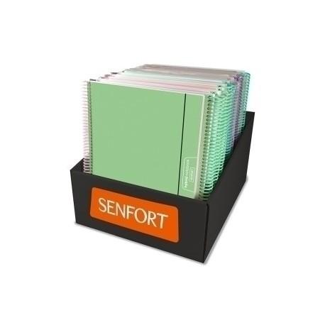 Bloc Senfort Unicolor Tapa Pp A4 120h Cuadric.5x5 90g C/Goma Surtido Expositor De 18