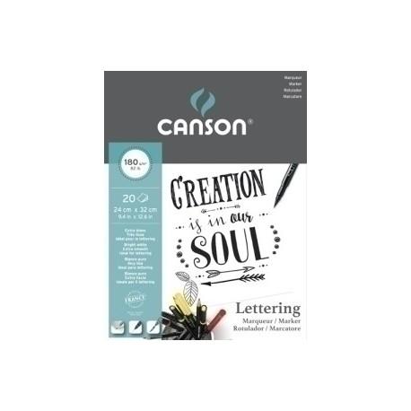 Block De Dibujo Guarro-Canson Lettering Marker Satin (Encolado) 180g 24x32 20h