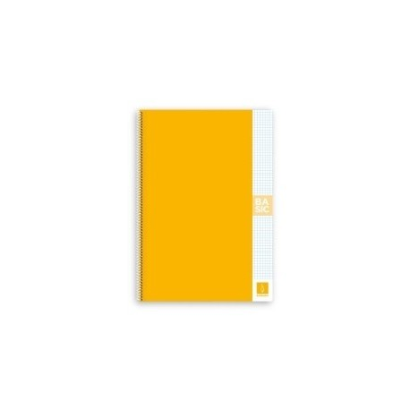 Block Escolofi Basic Tapa Dura A4 80h Cuadric.4x4 80g Con Margen Amarillo
