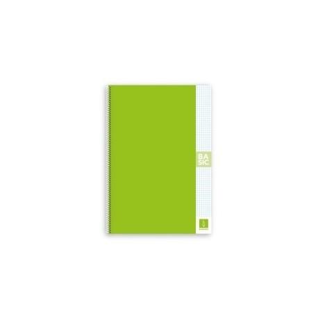 Block Escolofi Basic Tapa Dura A4 80h Cuadric.4x4 80g Con Margen Verde Claro