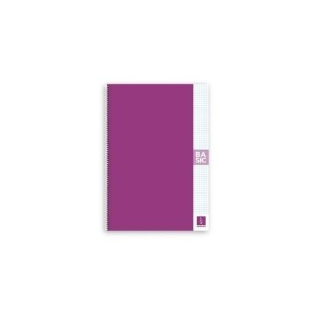 Block Escolofi Basic Tapa Dura A4 80h Cuadric.4x4 80g Con Margen Violeta