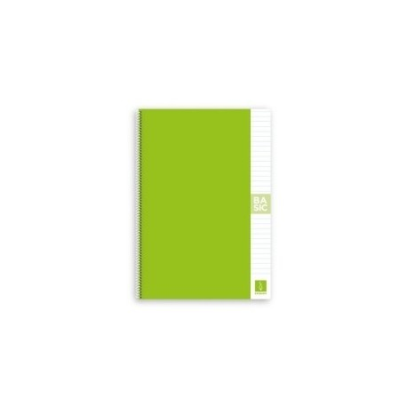 Block Escolofi Basic Tapa Dura A4 80h Horizontal 80g Con Margen Verde Claro