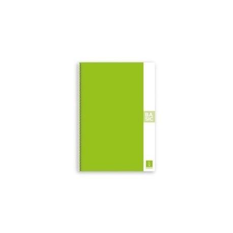 Block Escolofi Basic Tapa Dura A4 80h Liso 80g Verde Claro