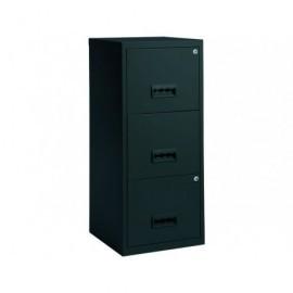 PIERRE HENRY Muebles de archivo 3 cajones 40X40X96 Negro Metalico 2 Cerraduras 095154