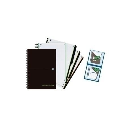 Block Oxford Black N´Colors Eu.Book 4 Separadores Micro.Tapa Pp A4+ 120h Cuadric. 5x5 90g Negro/Verde