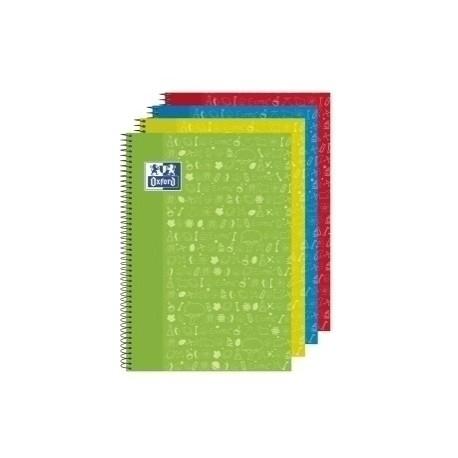 Block Oxford School Asignaturas Naturales Tapa Extra Fº 80h Cuadric.4x4 90g Surtido (4 Col.)
