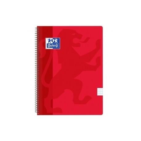 Block Oxford School Classic Tapa Pp Fº 80h Cuadric.5x5 90g Rojo