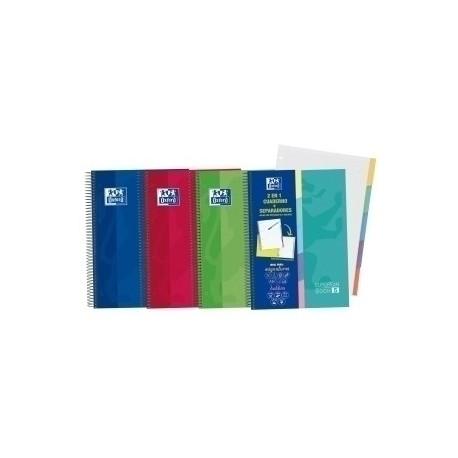 Block Oxford School Eu.Book 5 Separadores Micro.Tapa Extra A4+ 100h Cuadric.5x5 90g Surtido