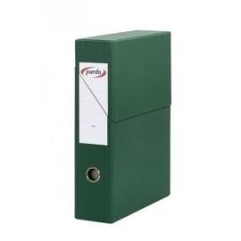 Caja De Transferencias Pardo Carton Forrado Pvc A4 Archivador Vertical 8 Cm Verde