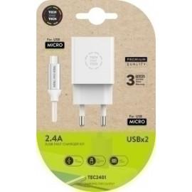 Cargador Doble Pared Blanco + Cable Usb Micro Android Alto Rendimiento 2,4a