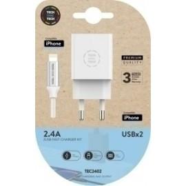 Cargador Doble Pared Blanco + Cable Usb Micro Apple Alto Rendimiento 2,4a