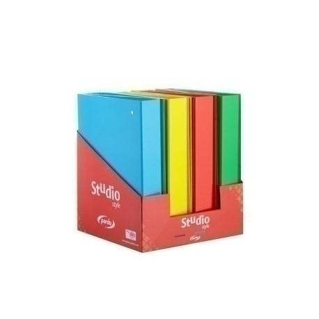 Carpeta De Anillas Pardo Studio Style Carton Extra Forrado Colores Fº 4 An. 40mm Expositor De 8