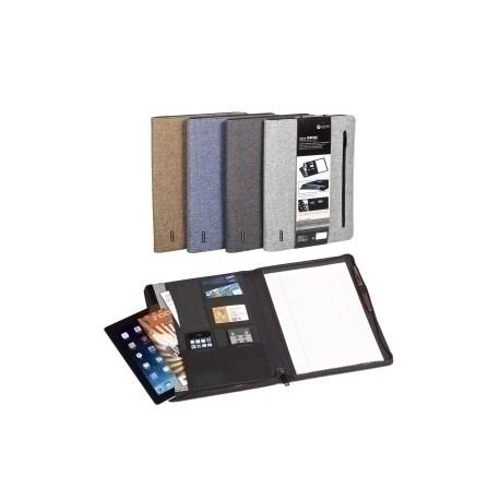 """Carpeta De Congresos Carchivo Venture Textil A4 Con Bolsillo Tablet 9,7"""", Tarjetero, Block Y Cremallera Azul"""