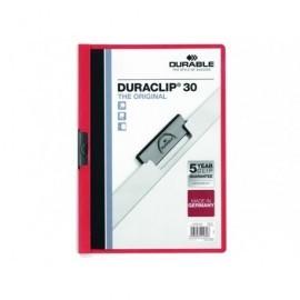 DURABLE Dossiers clip Duraclip Capacidad 30 hojas A4 Rojo PVC   2200-03