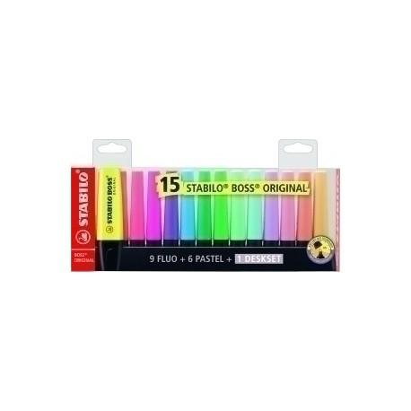 Marcador Fluor Stabilo Boss 70 Fluo/Pastel Estuche De 15 (9 Fluo + 6 Pastel)