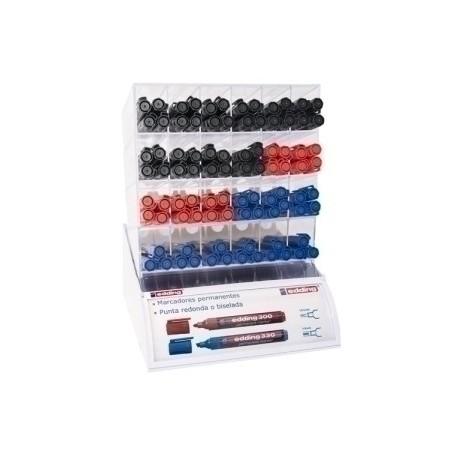 Marcador Permanente Edding 300 Conico Expositor De 90 (40x Negro, 20x Rojo, 30x Azul)